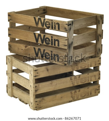 Studio photography of two wooden wine crates on each other isolated on white with clipping path
