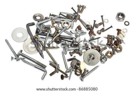 studio photography showing lots of various screws and nuts, isolated on white with clipping path