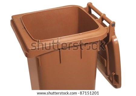 studio photography showing the detail of a open waste container in white back