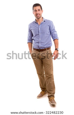 Studio picture of a young and handsome man posing isolated #322482230