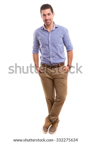 Studio picture of a young and handsome man posing isolated #332275634