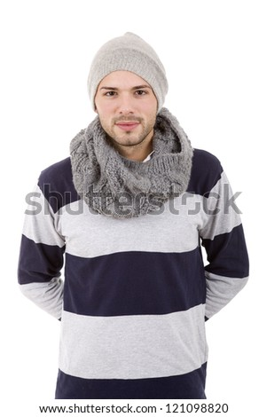 studio picture of a young man dressed for winter