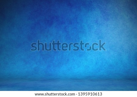 Studio portrait backdrops traditional painted canvas or muslin fabric cloth studio backdrop or background, suitable for use with portraits, products and concepts. Dramatic, blue modulations #1395910613