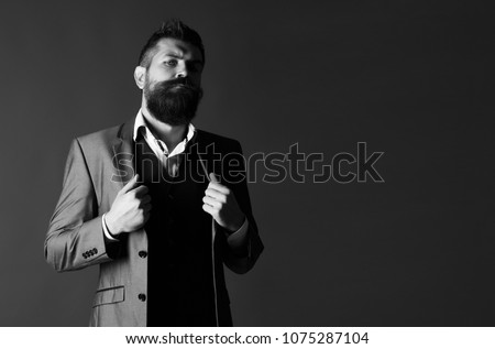 Studio portrait of a bearded hipster man. Male beard and mustache. Handsome stylish bearded man. Bearded man in suit and bow-tie. Men's beauty, fashion. Sexy male, macho, long beard. Black and white.