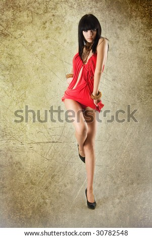 Studio portrait of a beautiful sexy young woman