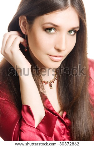 Studio portrait of a beautiful young brunette woman