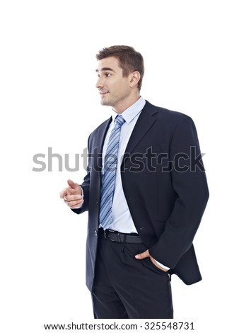 studio portrait of a caucasian businessman, side view, isolated on white background.