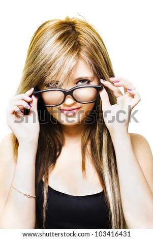 Studio Portrait Of A Sexy Fashionable Girl Looking Over The Top Of Funky Fresh Stylish Glasses, Isolated On White Background