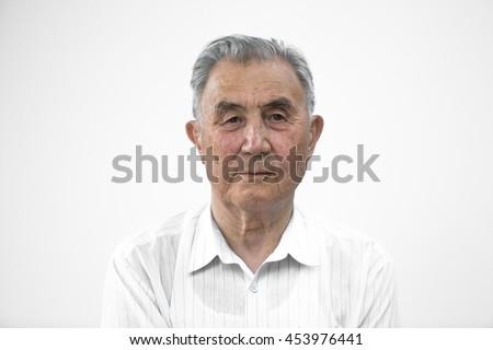 studio portrait of an old man #453976441
