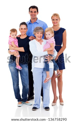 studio portrait of big family on white background