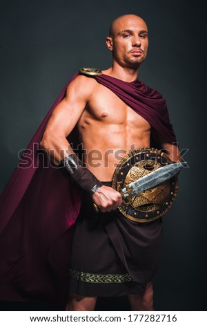 Studio portrait of man in spartan costume