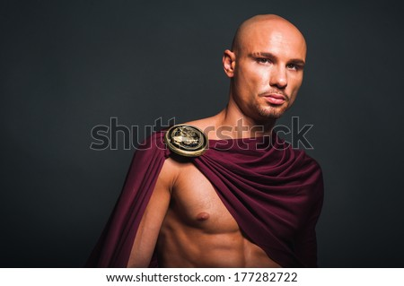 Studio portrait of man in spartan costume