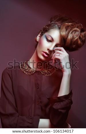 Studio portrait of the pretty young girl