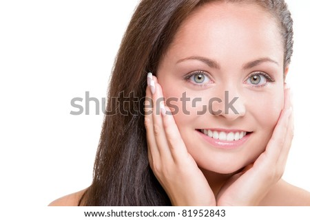 studio portrait of young beautiful woman - natural beauty concept