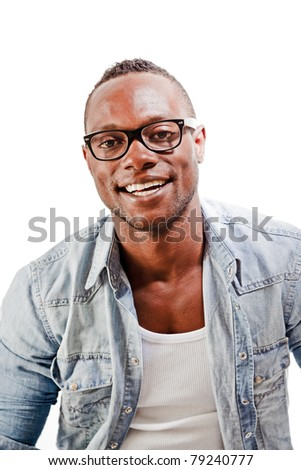 Studio portrait of young black man casual jeans style wearing vintage glasses isolated against white background.
