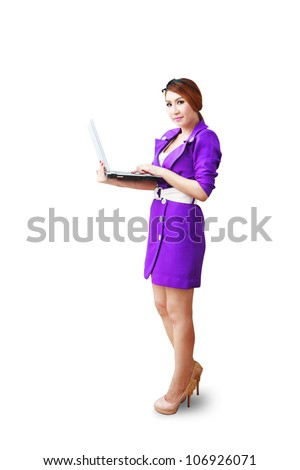 Studio portrait woman and notebook computer