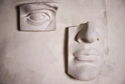 Studio sculpture of the human face.