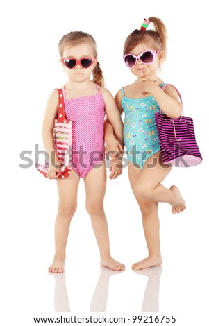 Studio series of cute fashion children wearing swimwear isolated on white background