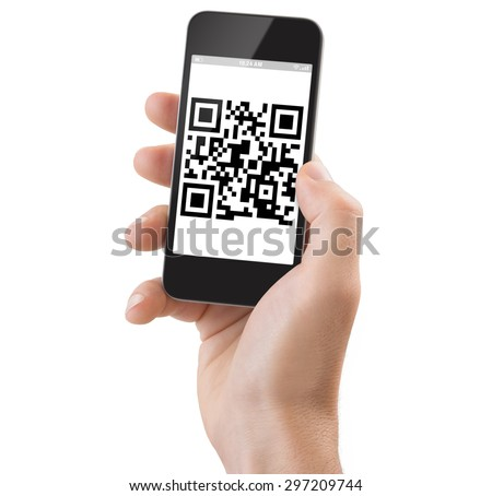 Studio Shoot of a adult man's hand holding a generic smartphone scanning a Qrcode. #297209744