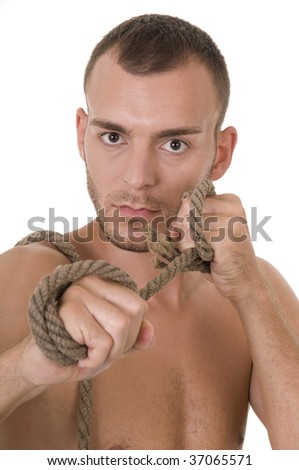 Studio shoot of young caucasian man with rope