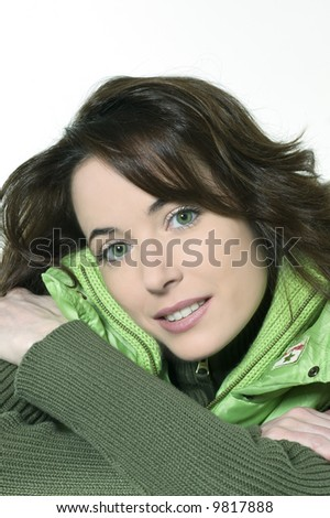 studio shot isolated portrait of a beautiful smiling girl on white background