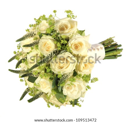 Studio shot of a bride's rose wedding bouquet