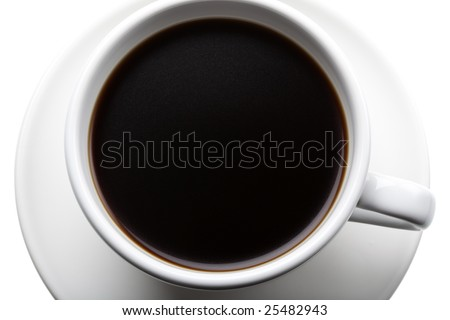 Studio shot of a cup of black coffee, seen from above