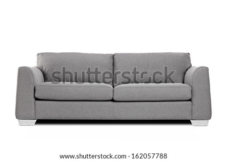 Studio shot of a grey modern sofa isolated on white background