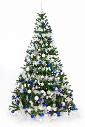 Studio shot of a richly decorated Christmas tree with blue and white ornaments, isolated on a white background. Christmas tree with  Greek,  Finnish, Scotland,  Israel  flag colours.