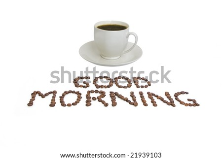 studio shot of a white coffee cup with coffee beans - stock photo
