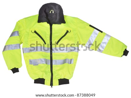 studio shot of a yellow and black neon coat with reflectors, cutout with clipping path