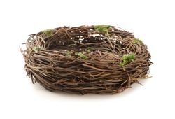 Studio shot of an empty bird nest isolated on white background