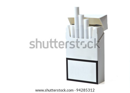 Studio shot of an opened pack of cigarettes