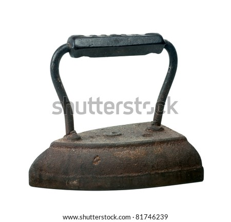 Studio shot of antique iron isolated on white background