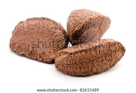 Studio shot of brazil nuts on white background - stock photo