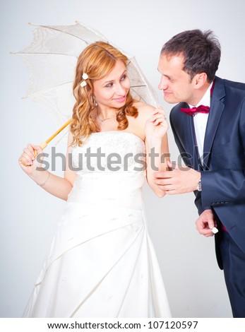 Studio shot of Bride and Groom