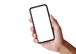 Studio shot of Business hand holding the black smartphone with blank screen and modern frame less design in two rotated perspective positions -image set isolated on white background  - Clipping Path