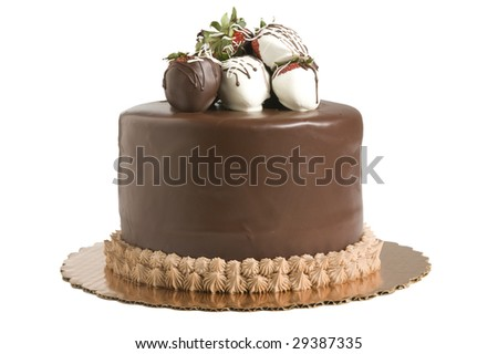 Studio shot of chocolate cake with strawberries on white background