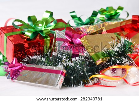 studio shot of christmas background of gift boxes