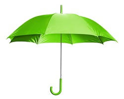 Studio Shot of Classic Green Umbrella Isolated on White