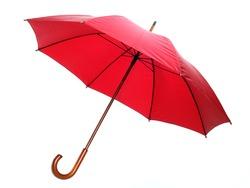 Studio shot of classic red umbrella isolated on white.