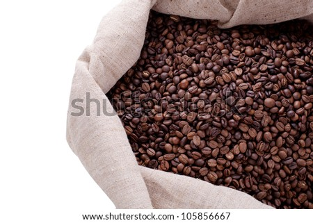 Studio Shot of Coffee Beans in a Bag isolated on white