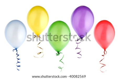 studio shot of colorful balloons isolated on white background