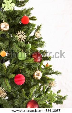 Studio Shot Of Decorated Christmas Tree Stock Photo 58413055
