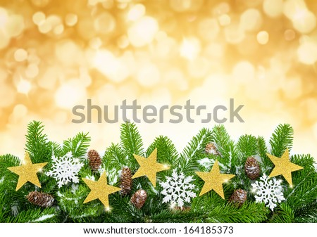 Studio shot of fir twigs decorated with stars, snow and cones on blurred lights background