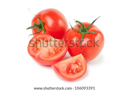 Studio shot of fresh and ripe tomatoes, white background
