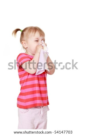 studio shot of  girl is blowing her nose