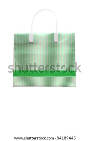 Studio shot of Green strip shopping bag with blank copy space on bag for your text