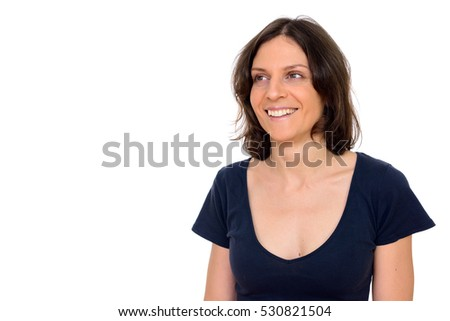 Studio shot of happy Caucasian woman looking up isolated against white background #530821504