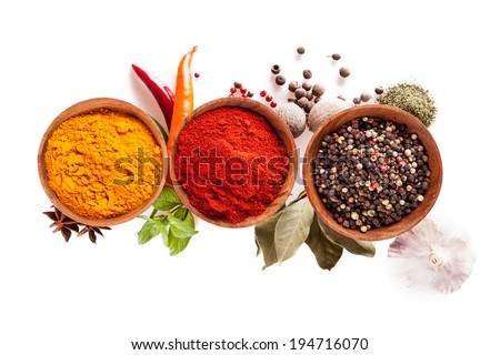 Studio shot of isolated spices on white background